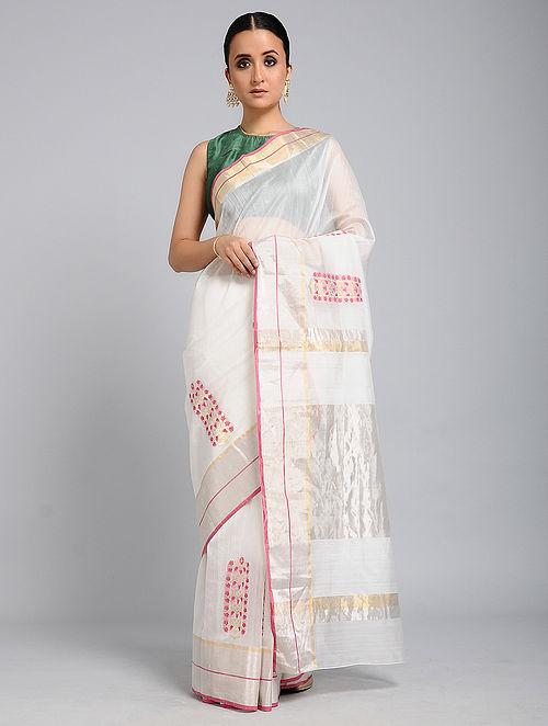 23ac9506483 Buy Ivory-Red Chanderi Saree with Zari Online at Jaypore.com