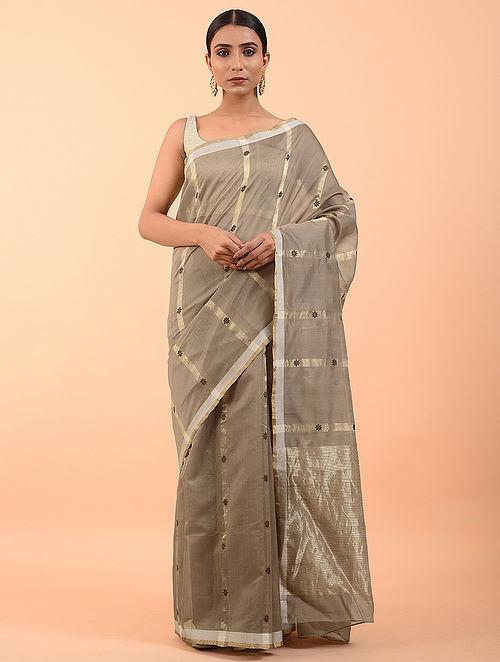 Grey Handwoven Chanderi Saree