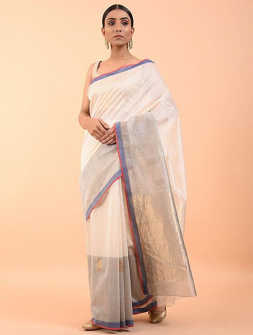 Ivory-Blue Handwoven Chanderi Saree