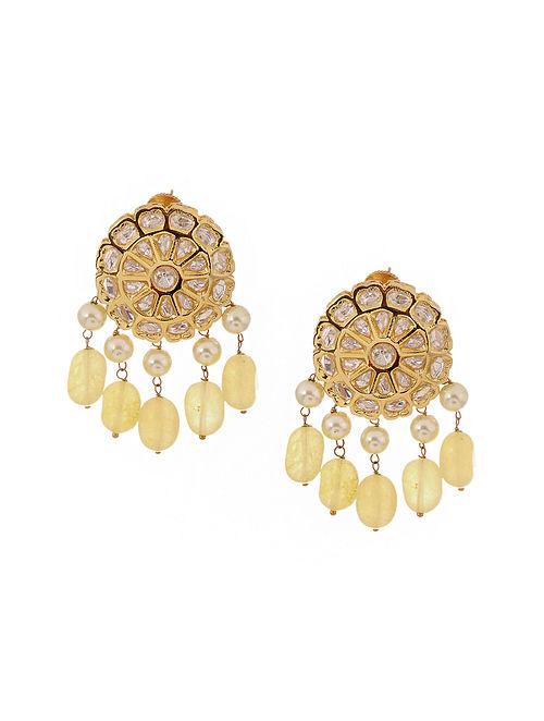 Yellow Kundan Inspired Gold Tone Brass Earrings