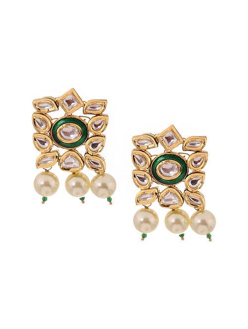 Green White Kundan Inspired Gold Tone Brass Earrings