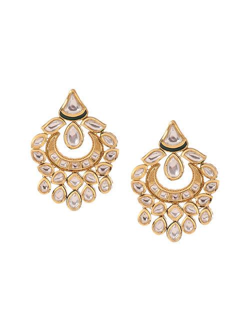 Kundan Inspired Gold Tone Brass Earrings