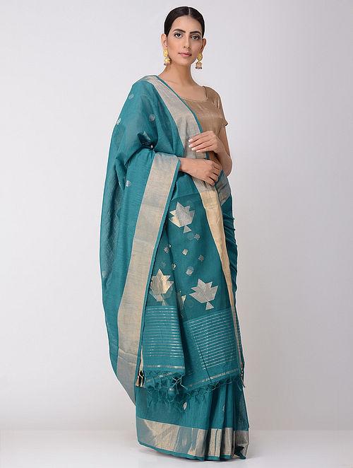 06b7feb4c5 Buy Blue Dhakai Khadi Silk Saree with Muslin Palla Online at Jaypore ...