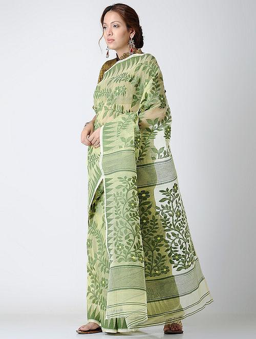587a9dcd70 Buy Green Dhakai Jamdani Cotton Silk Saree Online at Jaypore.com