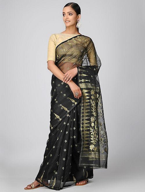 20c59c614c Buy Black Dhakai Muslin Saree with Zari Online at Jaypore.com
