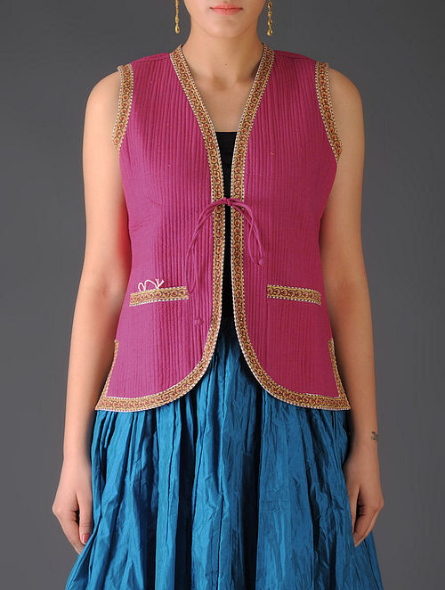 Fuschia - Orange Ajrakh Detailed Reversible Sleeveless Jacket