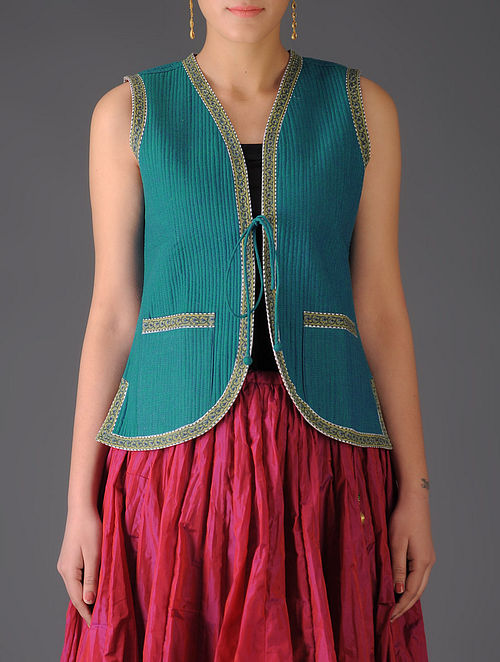 Teal - Dark Red Ajrakh Detailed Reversible Sleeveless Jacket