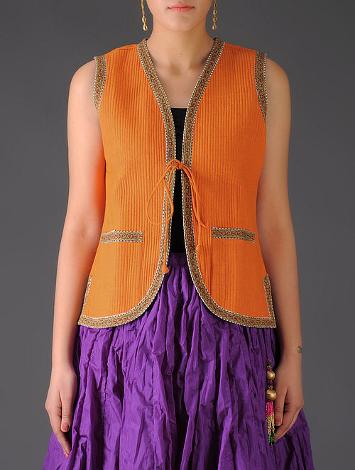 Orange - Maroon Ajrakh Detailed Reversible Sleeveless Jacket