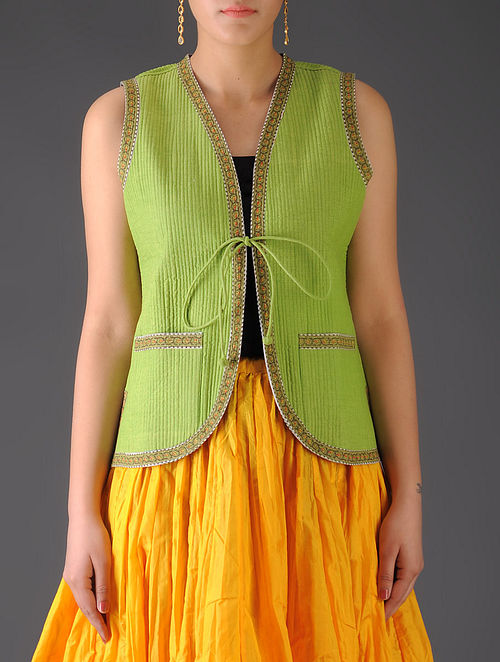 Lime Green - Teal Ajrakh Detailed Reversible Sleeveless Jacket