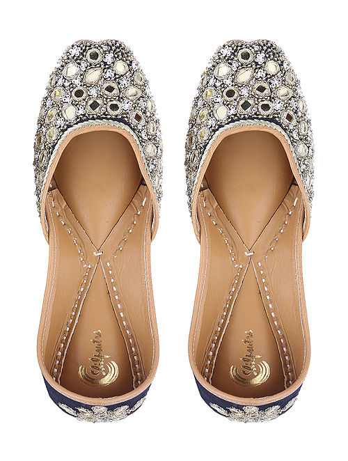 Blue Sequin and Zari Embroidered Silk and Leather Juttis