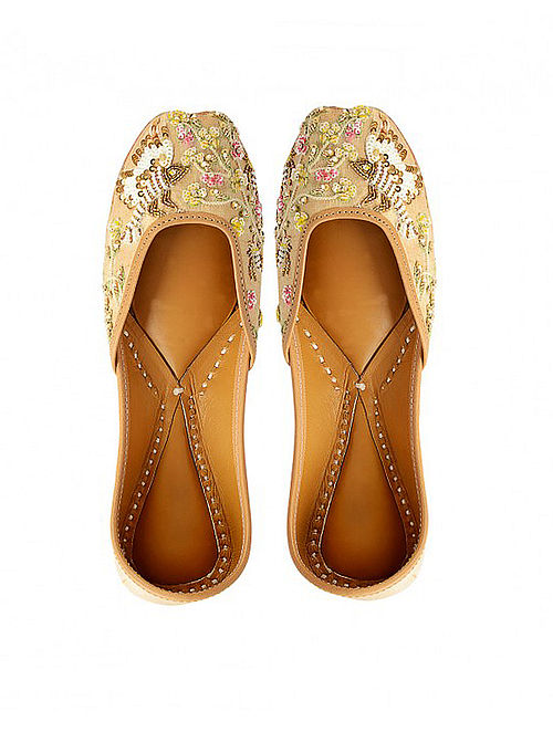 Beige Sequins-Embroidered Silk and Leather Juttis
