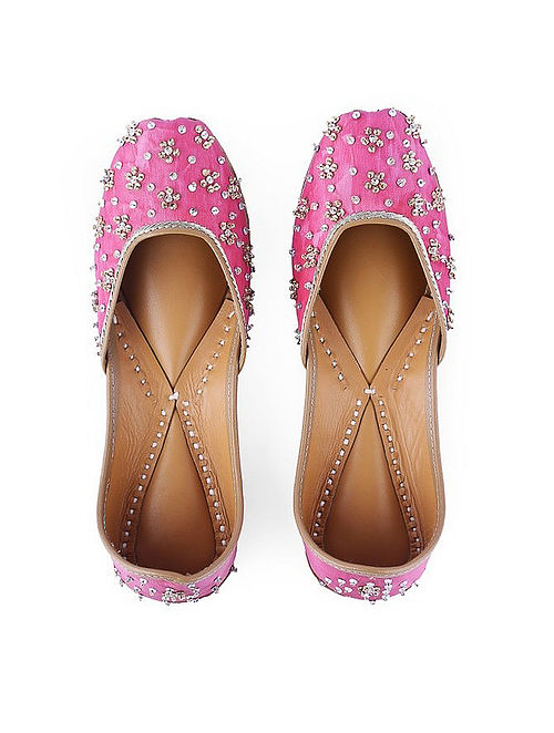 Pink Hand-Embroidered Leather Juttis with Embellishments