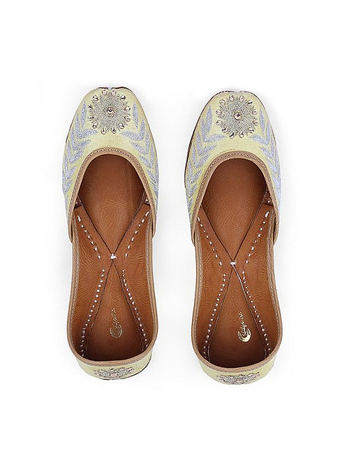 Yellow Hand-Embroidered Leather Juttis with Embellishments