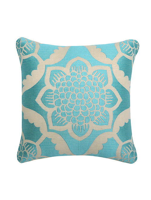 Cream-Aqua Lotus Cushion Cover 12in x 12in