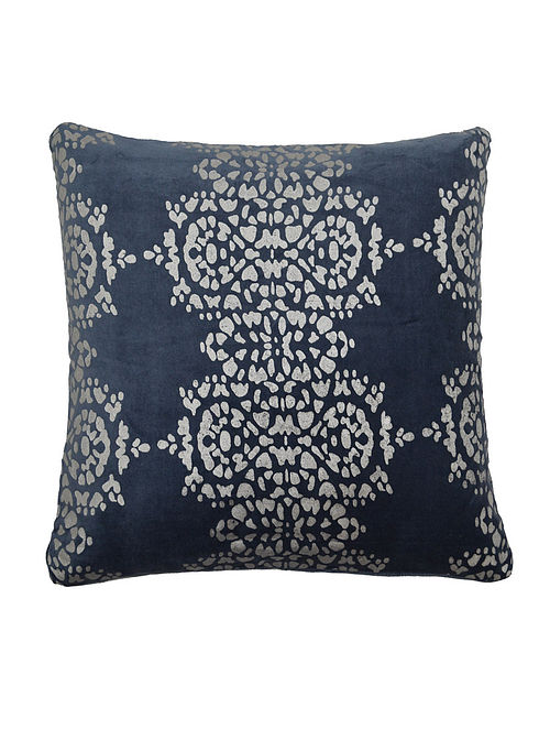 Blue-Silver Foil Printed Cushion Cover 16in x 16in