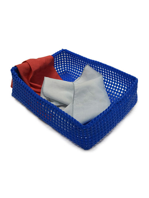 Blue Plastic Rectangular Storage Tray