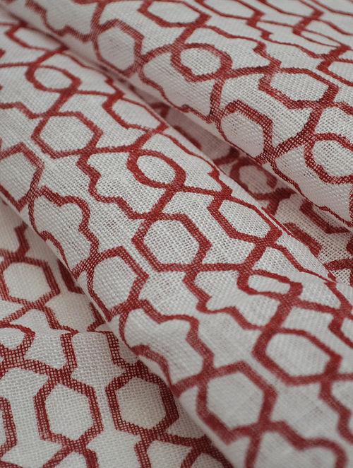 Red Linen Fretwork Design Fabric by YAMINI