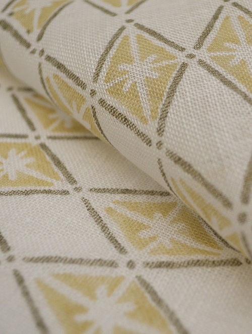 Straw Linen Floral Diamond Design Fabric by YAMINI