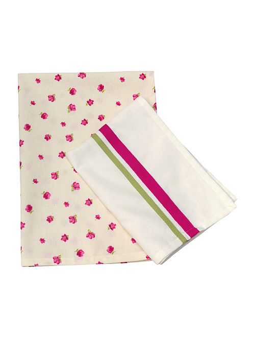 Printed & Plain Kitchen Towels-Set of 2 28.5in x 20.5in