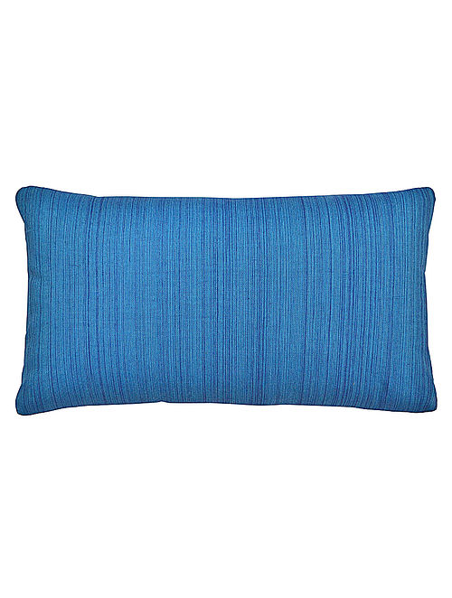 Blue Cotton Marakesh Yarn Dyed Textured Cushion Cover 20in x 12in