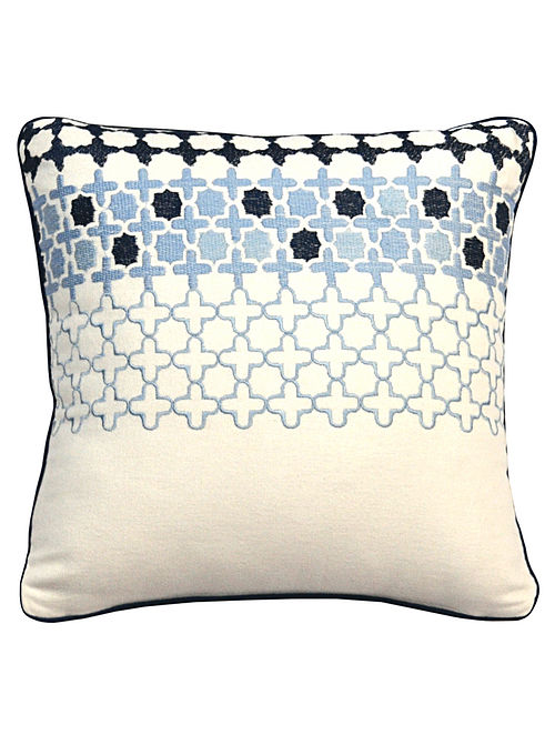 Offwhite-Blue Cotton Marakesh Embroidered Cushion Cover 12in x 12in