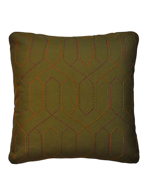 Olive Trellis Embroidered Cotton Cushion Cover