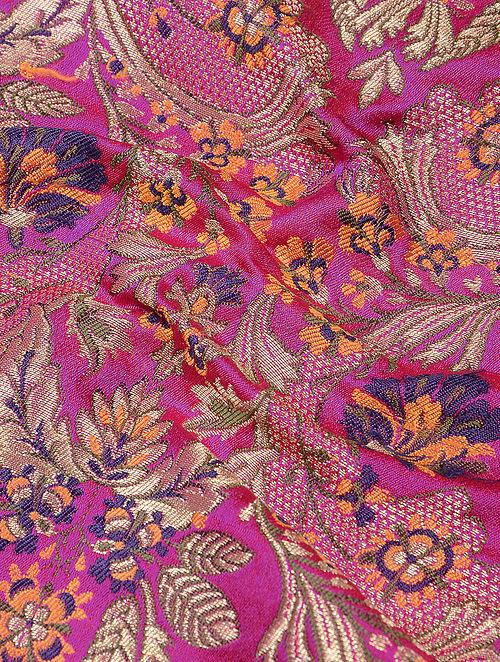 Buy Pink Orange Benarasi Kimkhwab Brocade Fabric Online At