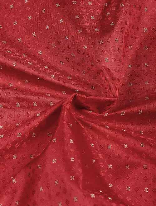 Red Benarasi Katan Silk Fabric