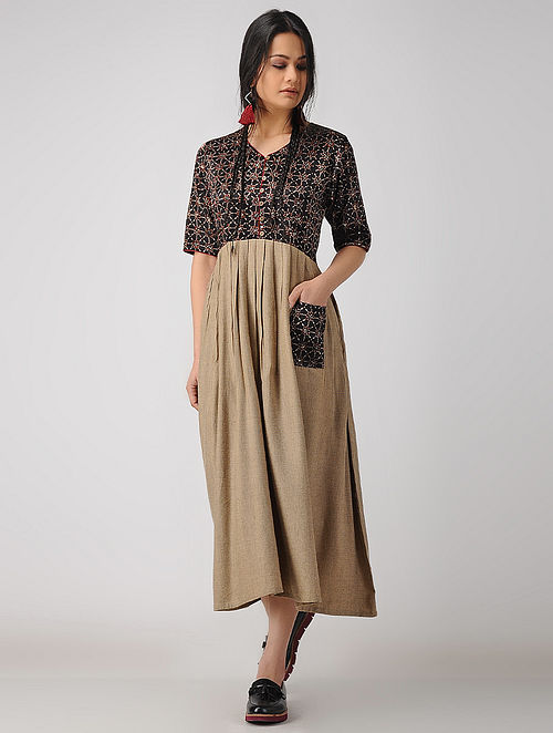 Buy Brown Ajrakh Printed Cotton Kurta With Kutch Embroidery Online