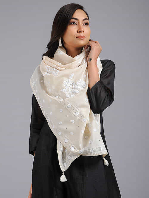 2a8c4a82a65 Buy Off-White Chikankari Tussar Silk Stole with Mukaish Work Online at  Jaypore.com