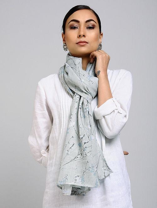 Grey Printed Linen Cotton Stole