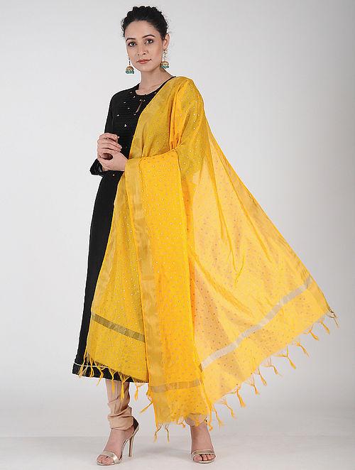 11e07098eaa5 Buy Yellow Foil-printed Chanderi Dupatta with Zari Online at Jaypore ...
