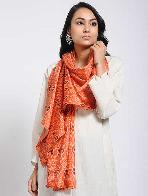 Red Printed Khadi Silk Stole