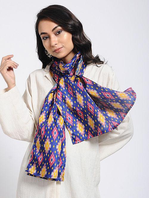 Blue-Yellow Printed Khadi Silk Stole