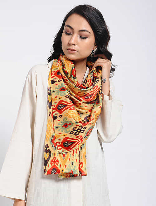 Red-Yellow Printed Khadi Silk Stole