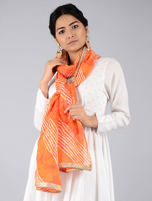 24c5728a69 Buy Orange-Ivory Leheriya Kota Silk Stole with Gota Patti Border ...