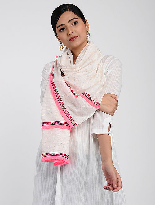 Ivory-Pink Muslin Cotton Stole with Hand-work