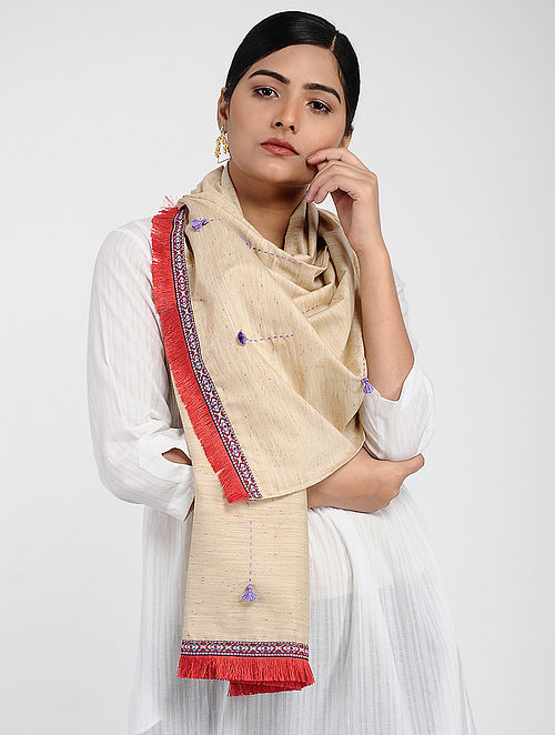 Beige-Red Muslin Cotton Stole with Hand-work