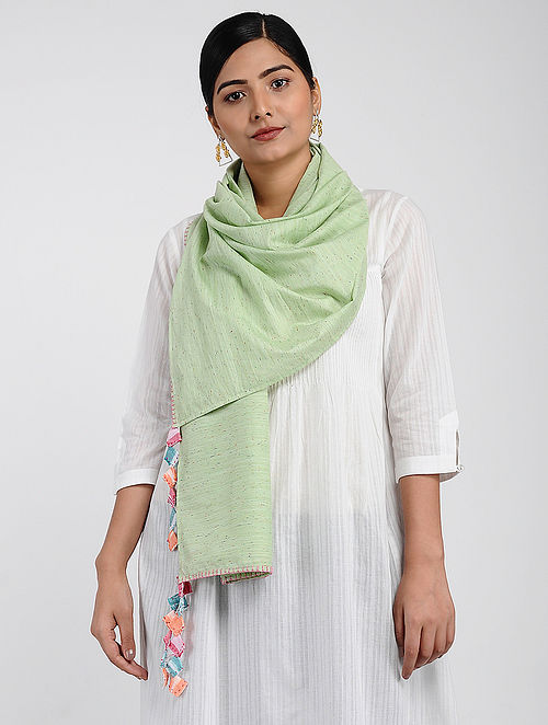 Green Muslin Cotton Stole with Hand-work