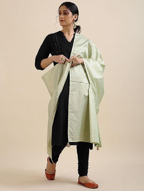Green Foil Printed Linen Satin Dupatta