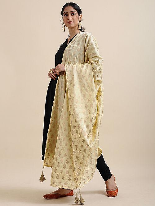 Yellow Foil Printed Linen Satin Dupatta