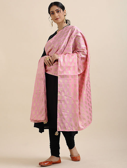Pink Foil Printed Linen Satin Dupatta