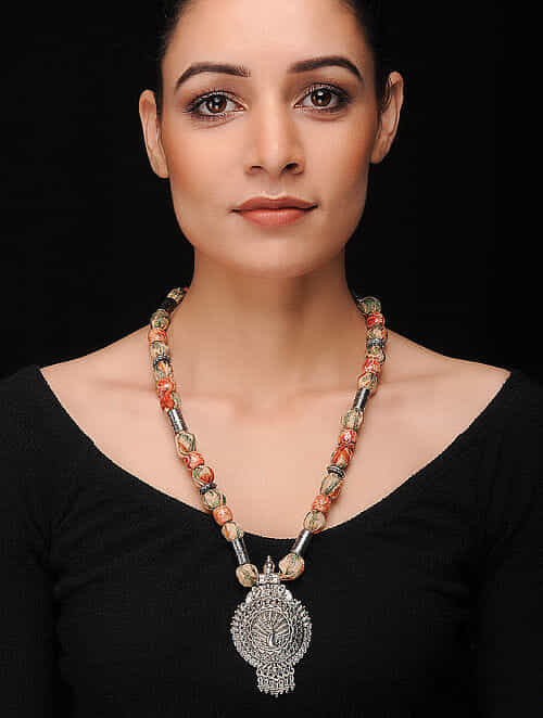 Multicolored Silver Tone Khadi Silk Necklace