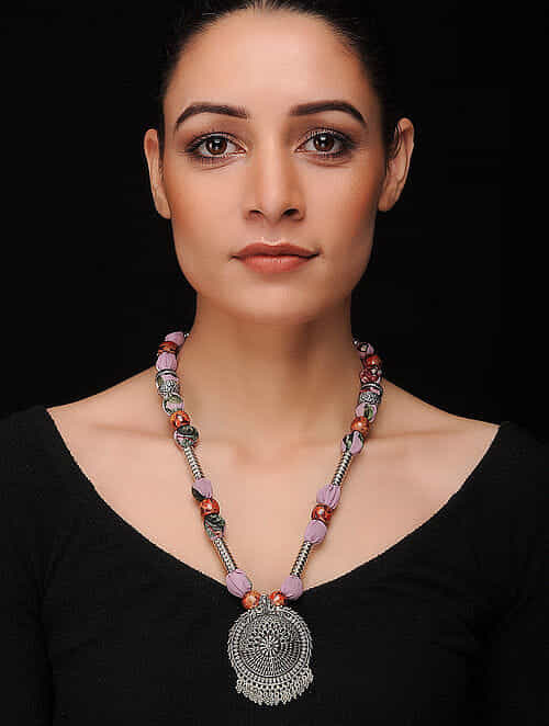 Multicolored Silver Tone Georgette Necklace