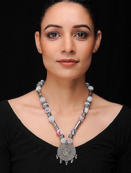 Blue-Multicolored Silver Tone Georgette Necklace