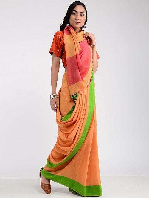 c949304bc1 Buy Pink-Green Khadi Cotton Saree with Tassels Online at Jaypore.com