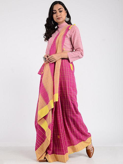 51e69bc574 Buy Pink-Yellow Khadi Cotton Saree with Tassels Online at Jaypore.com