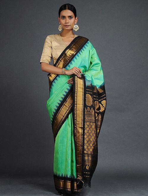 21bd5f2968 Buy Green-Black Gadwal Silk Saree with Zari Online at Jaypore.com