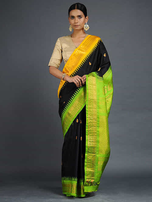 289536627b Buy Black-Green Gadwal Silk Saree with Zari Online at Jaypore.com