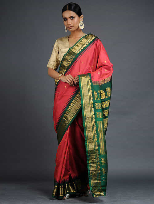 9db7aa1e60 Buy Red-Green Gadwal Silk Saree with Zari Online at Jaypore.com
